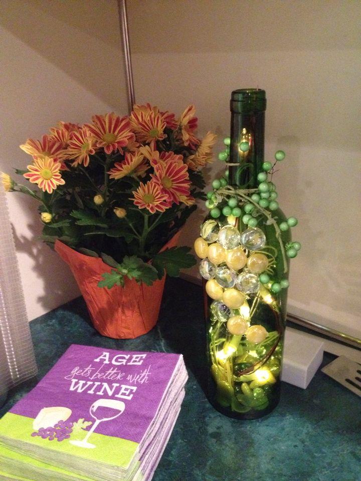 Wine themed shower lighted wine bottle