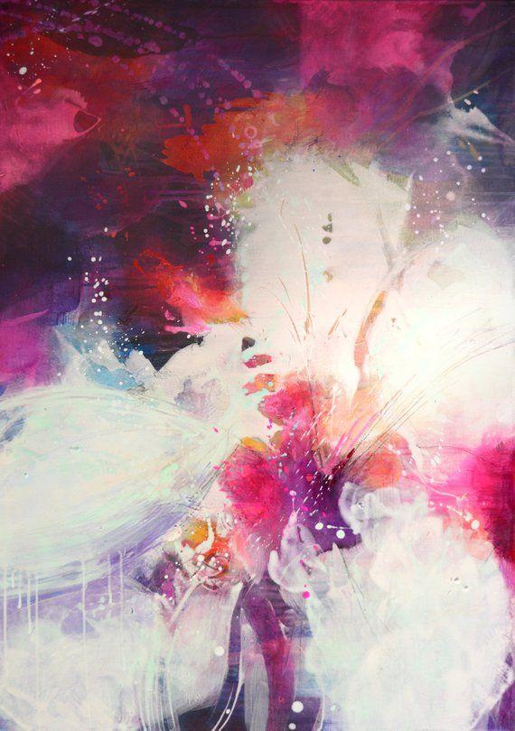 Grosse Abstrakte Acrylmalerei Mit Pink Und Lila Farben Auf Leinwand