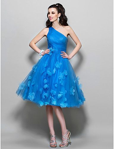 A-line One Shoulder Knee-length Tulle Cocktail/Prom Dress (699373) - USD $ 98.99