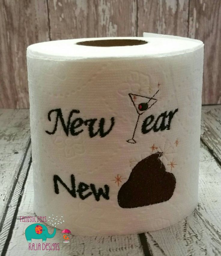 New Year embroidered toilet paper, gag gift, white elephant gift, bathroom decoration, home decor, new years eve, happy new year, holiday - pinned by pin4etsy.com
