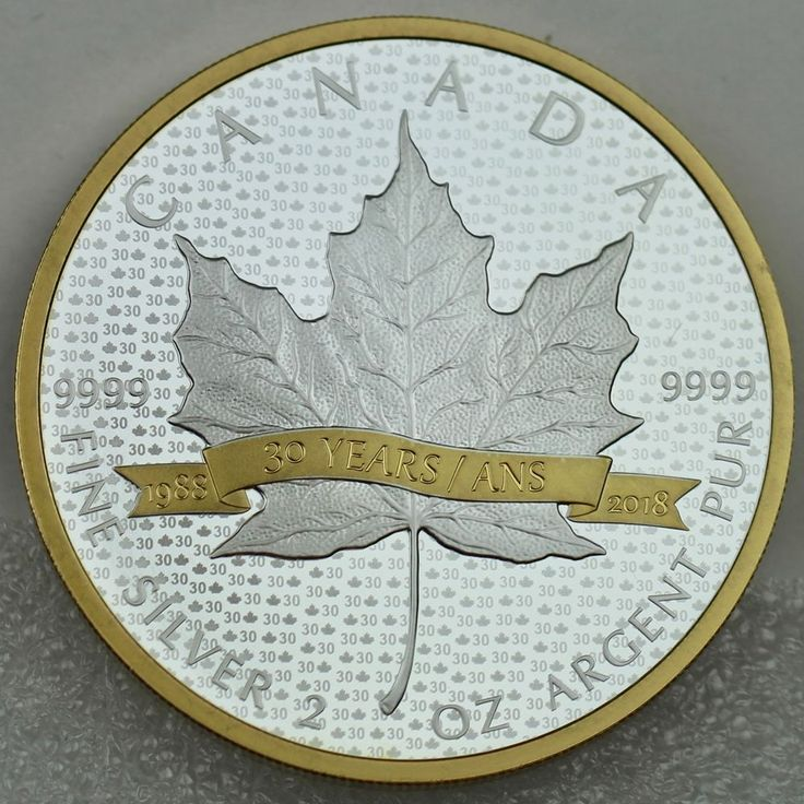 2018 $10 Silver Maple Leaf 30 Years 2 oz. Pure Silver Proof Coin Gold Plated