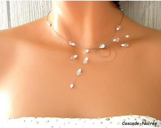 collier fuchsia mariage Eolia cristal blanc swarovski perle | Etsy ...