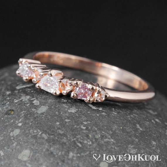 10% OFF Rose Gold Cluster Diamond Ring Pink by lovebyohkuol