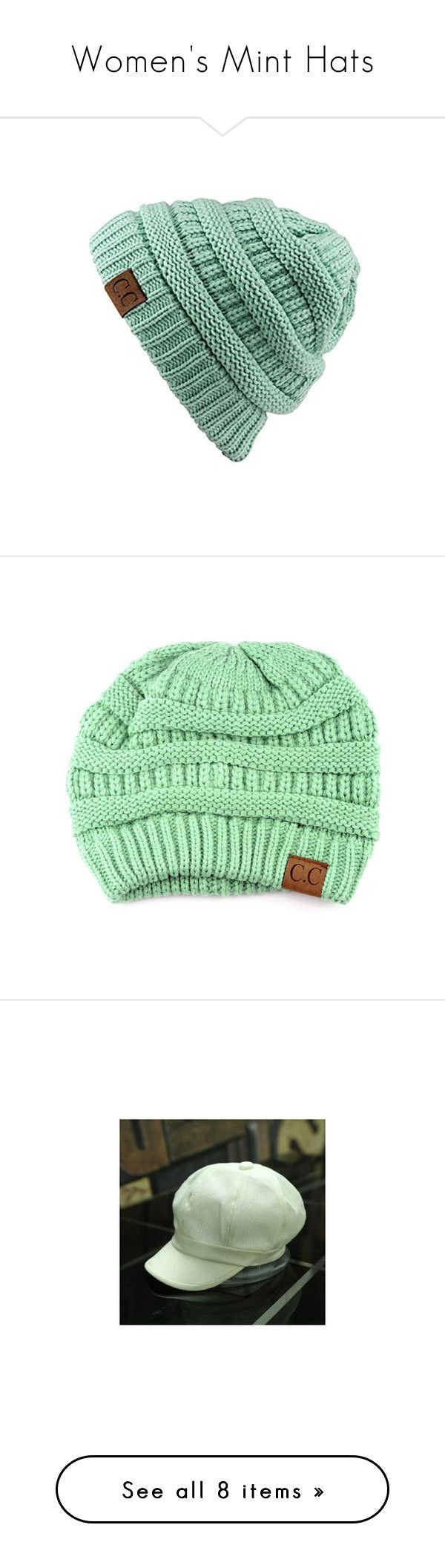 """""""Women's Mint Hats"""" by eternalfeatherfilm on Polyvore featuring tops, green, unisex tops, short tops, slouchy tops, green top, accessories, hats, women and apple cap"""