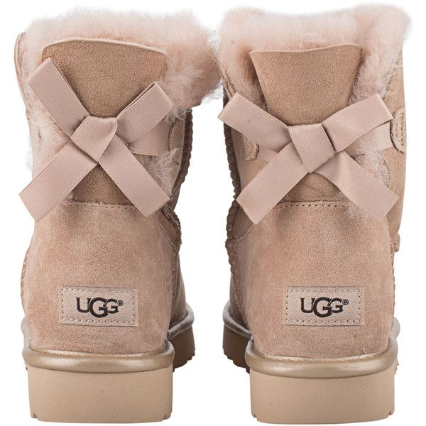 UGG Mini Bailey Bow Metallic Driftwood // Shearling boots with bow ($235) ❤ liked on Polyvore featuring shoes, boots, shearling boots, miniature shoes, rose boots, ugg shoes and metallic boots