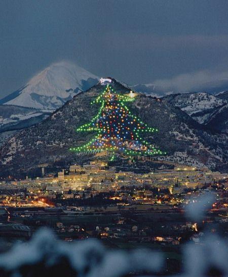 The world's largest Christmas tree on the slopes of Mount Ingino, Gubbio, Italy