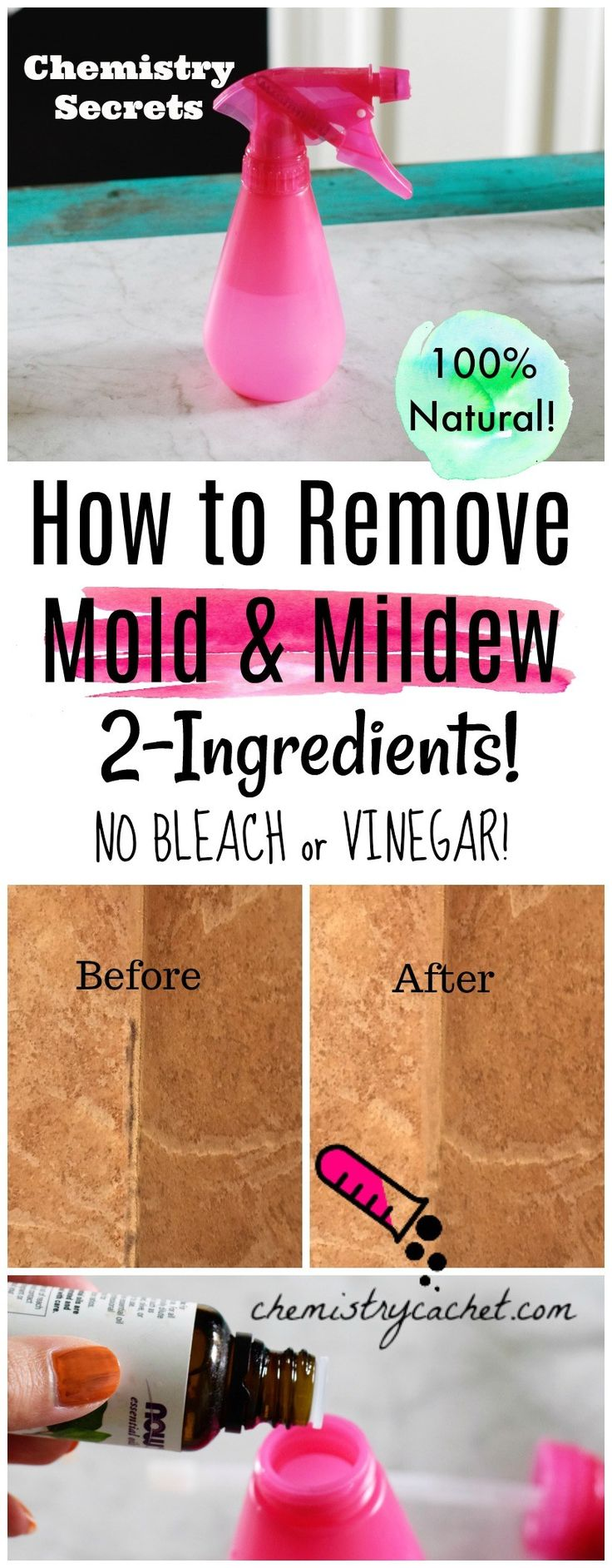 The Best Way to Remove Mold & Mildew Naturally! No Bleach, No vinegar. Just 2 ingredients! Water and tea tree oil - on chemistrycachet.com