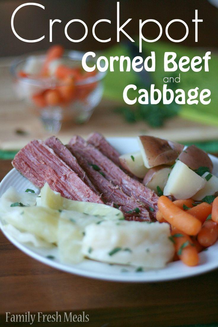 Crockpot Corned Beef and Cabbage- FamilyFreshMeals.com