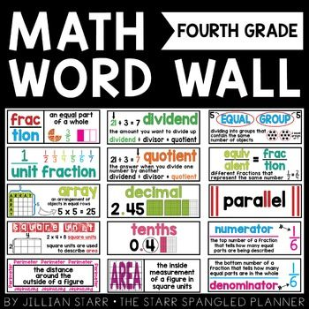 Math Word Wall Grade 4:  Help your 4th graders remember these essential math vocabulary terms with this visual math word wall, while brightening up your classroom at the same time! Included are 114 visual math vocabulary cards for your word wall.  With visual representations and student friendly definitions, these cards help students remember key vocabulary.