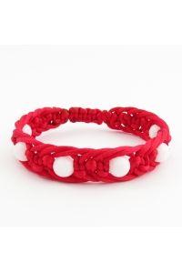 Náramok pletený Jadeit - červeno-biely