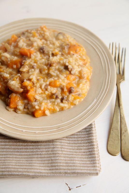 Primo piatto: risotto di zucca con castagne e salsiccia
