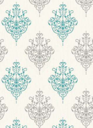 Cassandra  - Teal : Wallpaper and wallcoverings from Holden Decor Ltd.