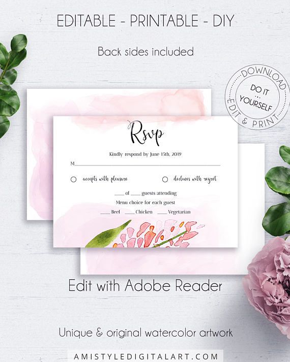 Blush DIY Response Card, with pretty and unique watercolor floral design for the lovers of the pure and chic wedding style.This charming wedding RSVP insert card is an instant download EDITABLE PDF pack so you can download it right away, DIY edit and print it at home or at your local copy shop by Amistyle Digital Art on Etsy