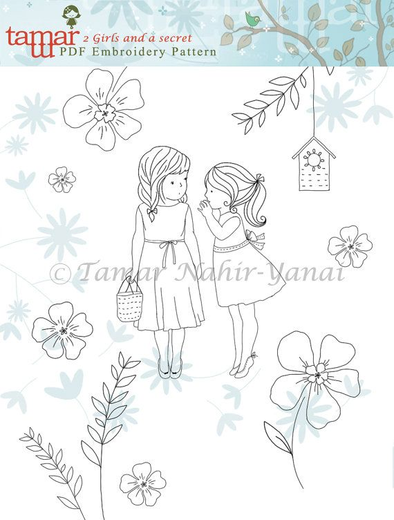 Embroidery Pattern Pdf Pattern 2 Girls and a secret by TamarNahirYanai