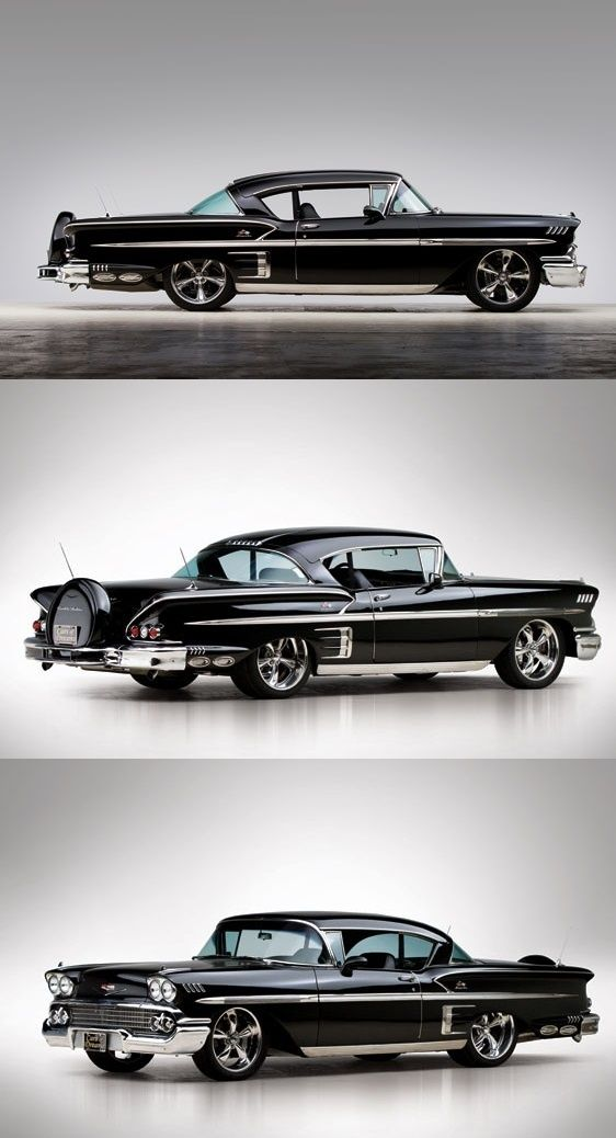 1958 Chevrolet Bel Air Impala.  My favorite 1950's Chevy.  Gotta love the Continental kit and coke bottle mags.