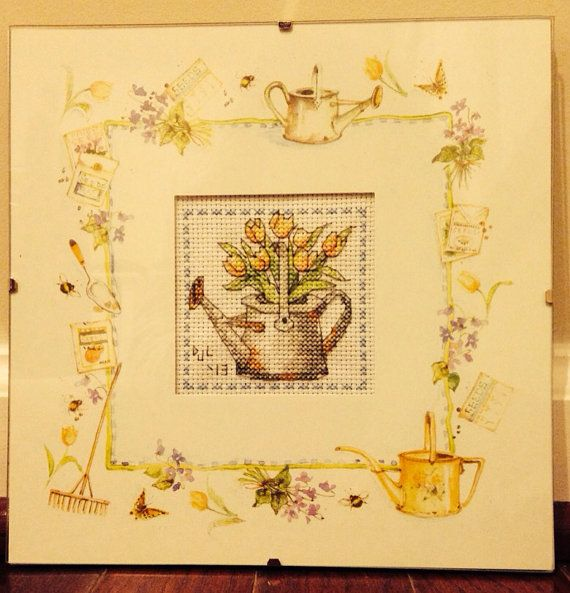 Completed Cross Stitch in Glass Watering Can Tulips by dannileifer, $24.99