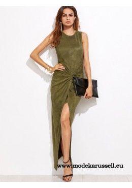Asymmetrisches Kleid Cintia Velousleder in Oliv Grün