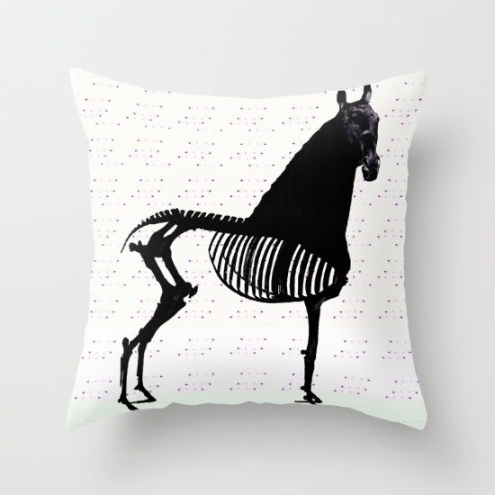 Throw Pillow, horse, black, bones