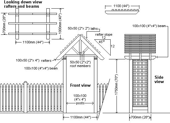 peaked arbor plan drawings
