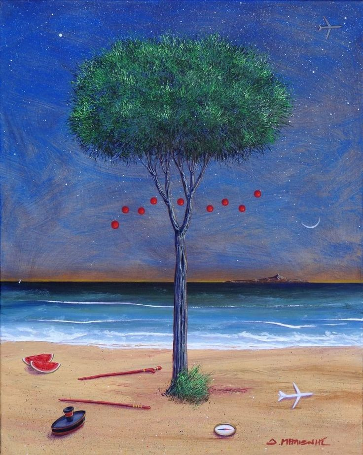 Milionis - Tree  7 Red Balls - 30 x 45 cm, Acrylic Painting Signed in Greek #Surrealism