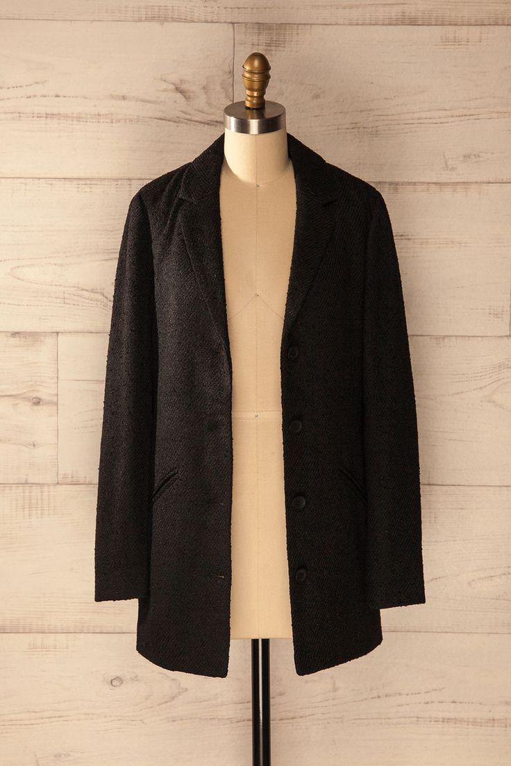 Pellini Ébène - Black button up wool coat