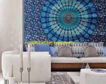 Blauwe bloemen Mandala Tapestry Tapestry blad, katoen Tapestry, Hippie blad, muur tapijt, Boho Dorm Decor, Boheemse, strand gooien