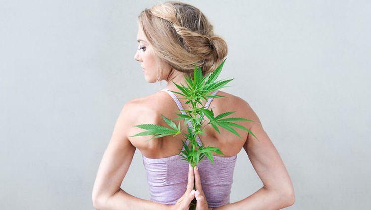 Rachael Carlevale, founder of Ganjasana, with cannabis plant. Photo by Tracey Eller (ellerimages.com), courtesy @CosmicSister   Twenty people sit in sukasana, breathing together, on a flower of mats on the floor of a Boulder, Colorado studio. Like the flower's central pistil, at the center of