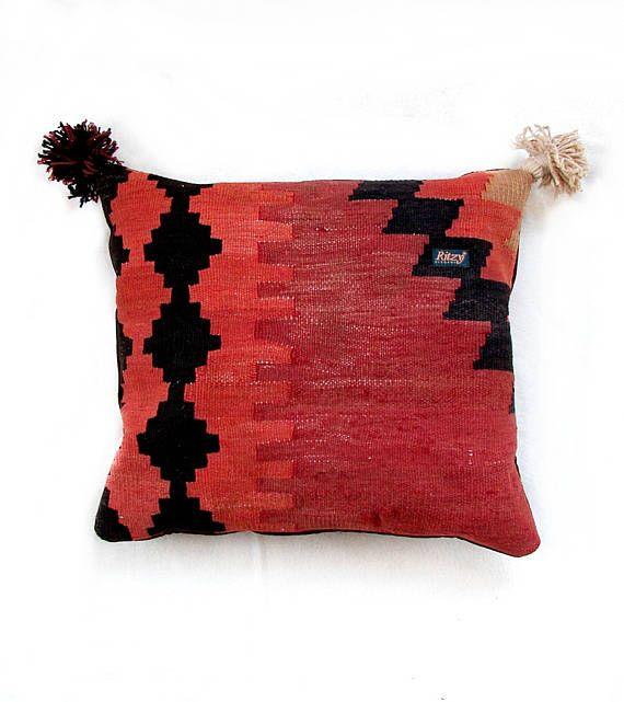 Geometric Tribal Pillow Persian Kilim Cushion Turkish Home