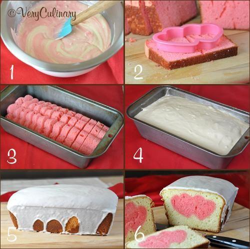 Valentine's Day Peek-A-Boo Pound Cake step by step
