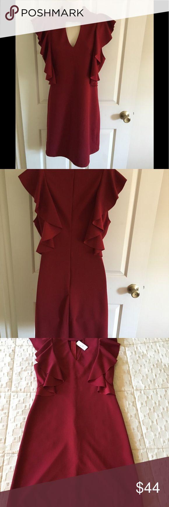 Burgundy Dark Red Ruffle Dress By She Sky Red Ruffle Dress Ruffle Dress Dresses