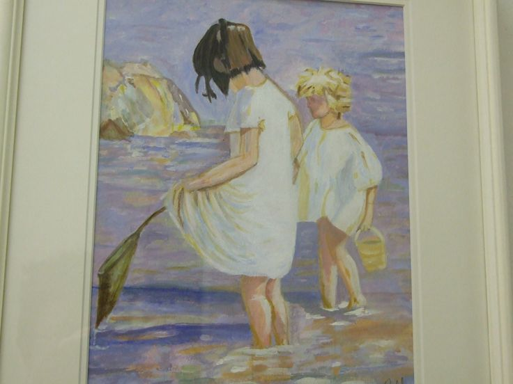 Artist Annette Reddan, Dublin Ireland.  'Children Summer Beach Fishing' This painting won 2nd  place in Ireland, in the Active Retired nationwide competition. Price 350.00 euro