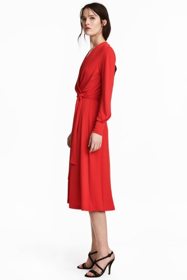 Jersey crêpe dress - Bright red - Ladies | H&M