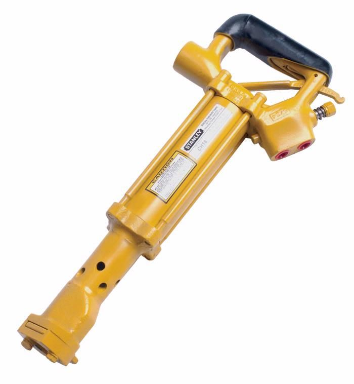 "Stanley CH18 is a light but powerful chipping hammer designed for medium duty chipping. It is commonly used for manhole and utility vault modifications or masonry repair and demolition. The CH18 ""D"" handle and tool bit holder are shock and heat insulated for operator comfort. Tool steels are held in place by a slide that is ball-and-spring detented. The CH18 uses standard .580-inch hex, round collar, chipper tool bits and comes with hose whips and flush-face quick disconnect couplers."