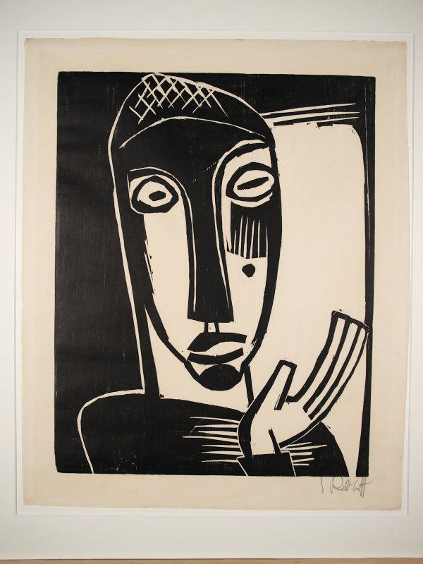 Karl Schmidt-Rottluff, Kopf (head). 1919, Woodcut, 50 x 39,7 cm, Galerie Henze & Ketterer. This print was banned by the Nazi regime and exhibited at the Degenerate art exhibition in Munich in 1937.