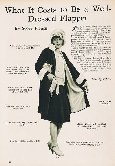 How much it costs to be a Flapper.1920 S, Fashion, Vintage, Clara Bows, Welldress Flappers, Flappers Girls, Well Dresses Flappers, 1920S, Costs