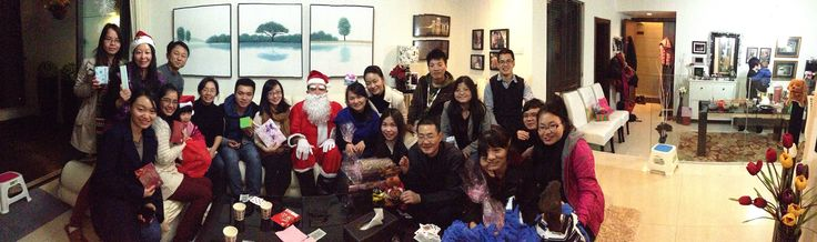 Happy Christmas China style with colleagues visiting my Zhuhai apartment