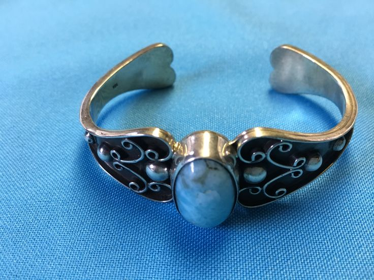Cuff with larimar $168.00 including tax & US shipping www.cloudninesterling.com cloudninesterling@hotmail.com