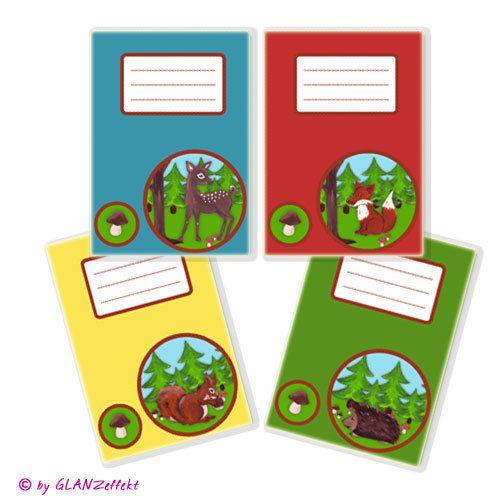 Im Set 4 Heftumschläge für die Schule 4 Wahlfarben von KUNSTgedrucktes vom Atelier GLANZeffekt auf DaWanda.com