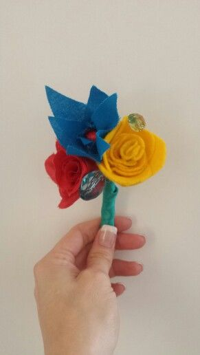 Fabric flower buttonhole I made for my husband