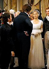 """Costumes are also used to show Mr. Darcy's evolution as he comes to love Elizabeth Bennet and let go of his snobbery. His costume had a series of stages. The first time we see him he's at Meryton, where he has a very stiffly tailored jacket on, and he's quite contained and rigid. He stays in that rigid form for the first part of the film."