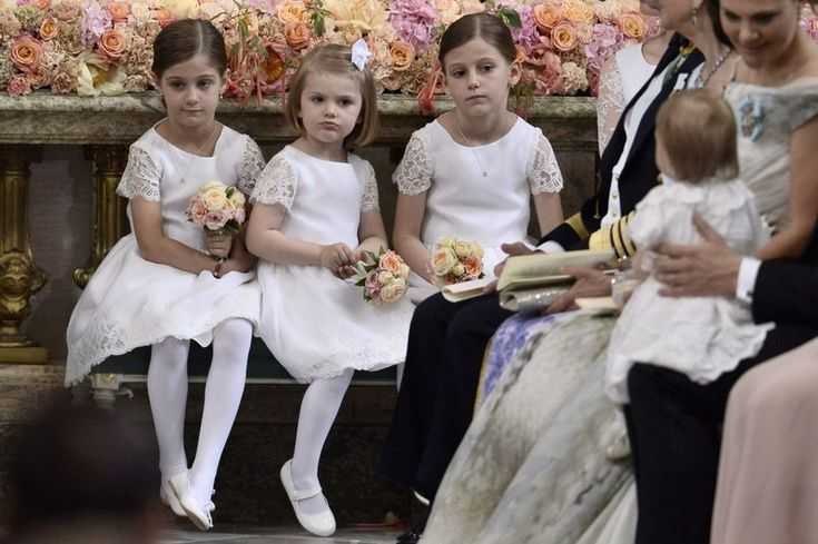 Bridesmaids: Princess Estelle between twin sisters Anaïs and Chloé Sommerlath; wedding of Prince Carl Philip of Sweden and ms Sofia Hellqvist, June 13, 2015