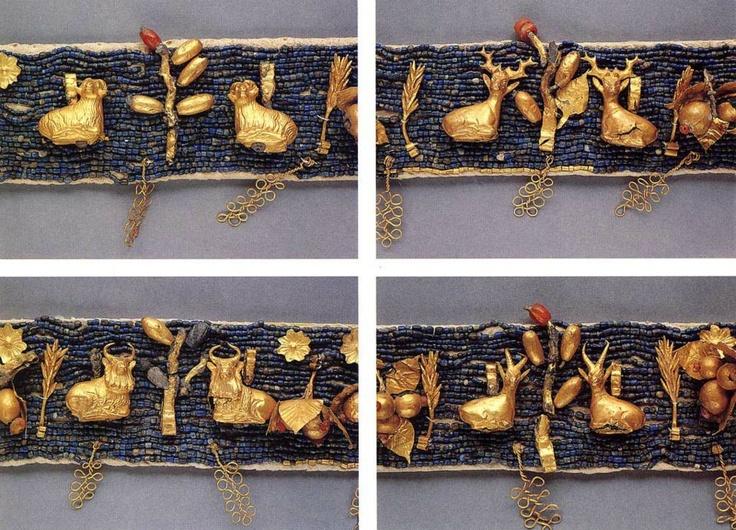 Sumerian golden diadem C. 2600 BC Ur. Pennsylvania university museum