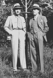 1940s men's fashion- suits, fat ties, fedora hats, two tone shoes. Perfect!