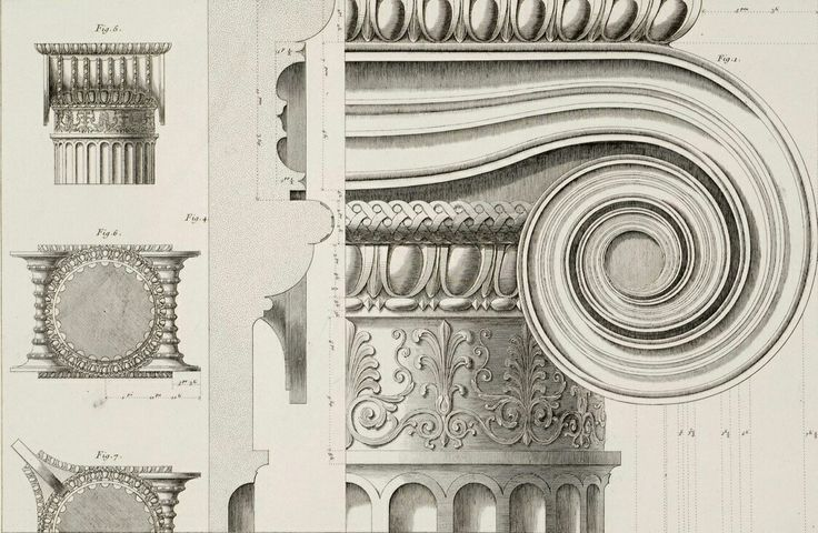 Ionic capital for column projects.