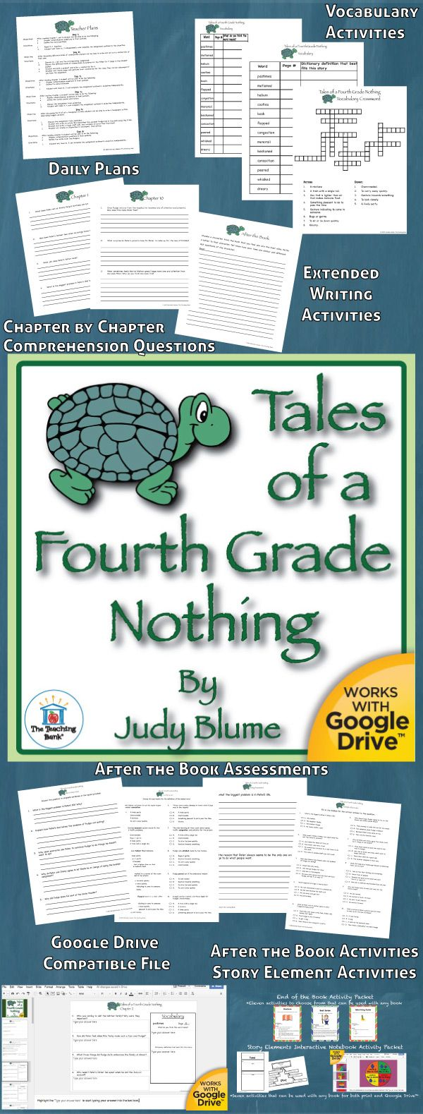 Tales of a Fourth Grade Nothing Novel Study is a Common Core Standard aligned book unit to be used with Tales of a Fourth Grade Nothing by Judy Blume. This download contains both a printable format as well as a Google Drive™ compatible format.