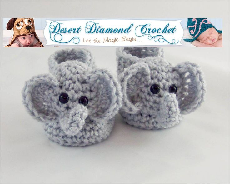 Crochet Pattern For Baby Espadrilles : Elephant Booties Crochet Pattern baby shoes Pinterest