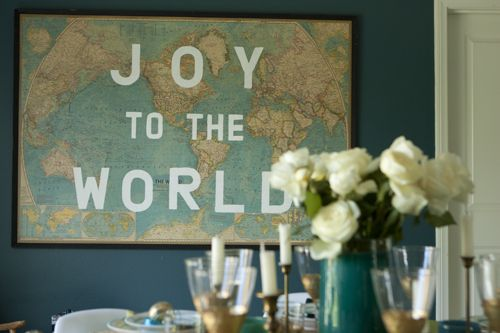 Joy to the World painted on map.   Emily Henderson — Stylist - BLOG - Holiday Special, Behinds The Scenes
