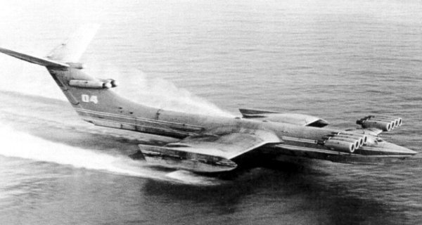 Russian Ekranoplan - also known as the Caspian Sea Monster. Boat/plane mix that 'flies' just above the surface of the water.