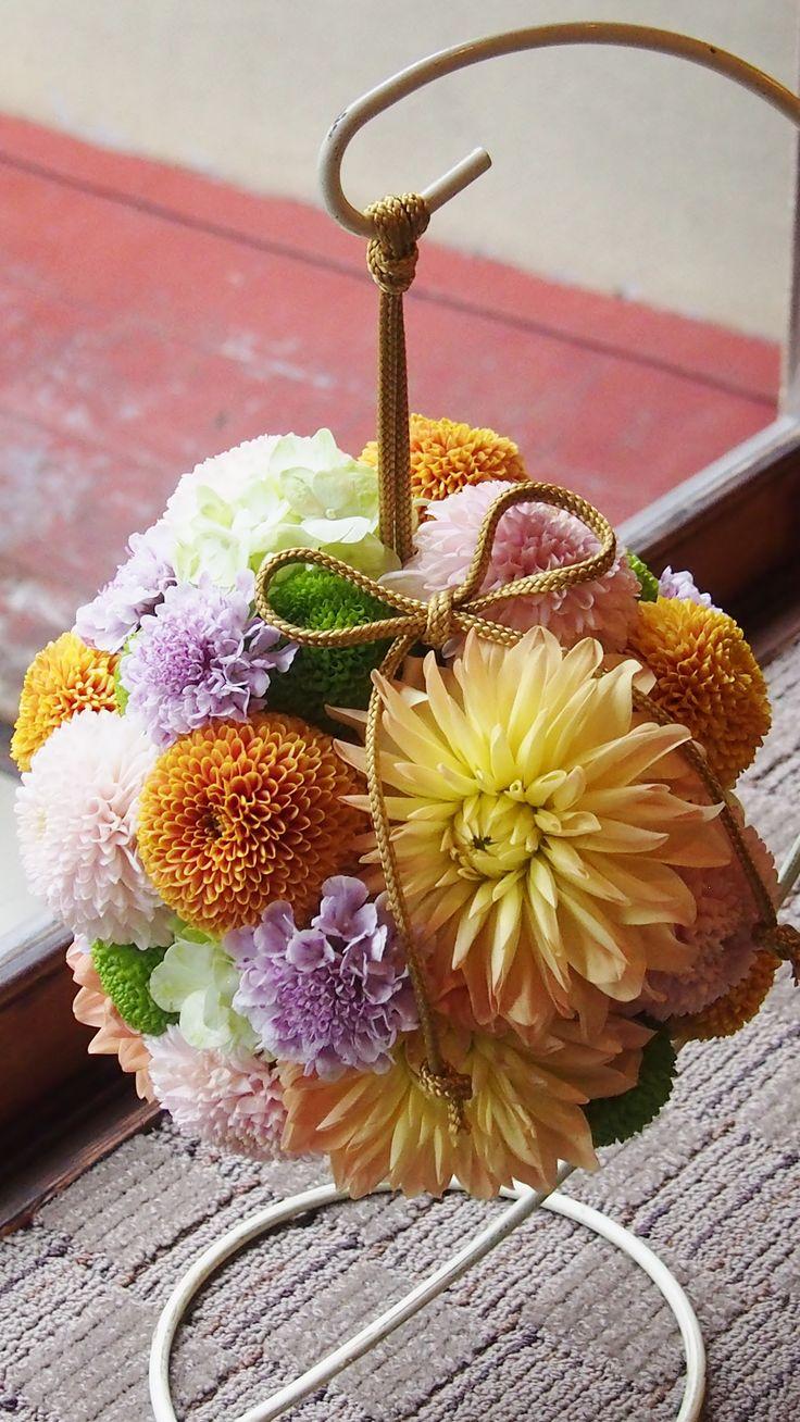 #mitakisou#novarese#vressetrose#Wedding #mixcolor #purple #Bouquet #natural #japanese# Flower # Bridal #三滝荘# ブレスエットロゼ #ウエディング #和装ブーケ # ボールブーケ#ピンポンマム#花 # ブライダル#結婚式#ブレスエットロゼ広島#オレンジ