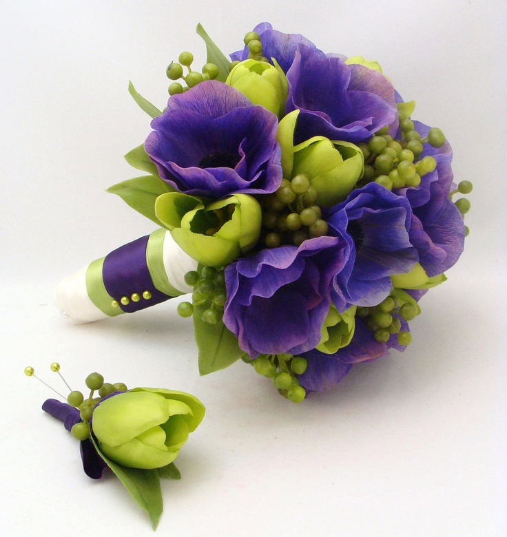 Ready to Ship - Silk Flower Bridal Bouquet & Groom's Boutonniere Purple Anemones with Green Berries and Green Tulips. $225.00, via Etsy.